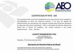 Certificado Nº RFB 309